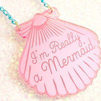 A Mermaid gave me this Pink Shell Necklace (Blue chain)
