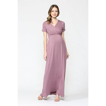 Bri Maternity & Nursing Maxi Dress in Dusty Mauve