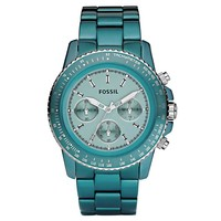 Fossil CH2706 Women's Stella Teal Aluminum Chronograph Watch