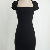 Film Noir Long Short Sleeves Sheath Sleek It Out Dress in Black