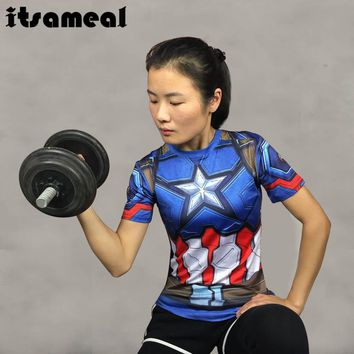 Captain America 3D Printed T-shirts Women Compression Shirt Slim Short Sleeve Cosplay Halloween Costume For Ladies Tops Female
