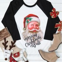 Christmas Santa Claus Print Casual Long Sleeve Stitching T-shirt Sweater Women Tops