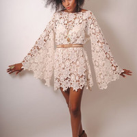 BELL SLEEVE vintage 70s style ivory lace sheer hippie mini dress