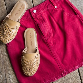 High Waisted Denim Skirt, Red