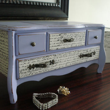 Vintage Upcycled Lavender Hand Painted and Decoupaged Jewelry Box Mini Dresser Plays The Godfather Theme