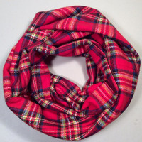 Handmade Infinity Scarf Plaid Flannel, Child, Kid Size, Super Warm Double Layer.  Red Royal Stewart Tartan - Christmas Holiday Gift