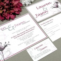 Queens Lace | Modern Wedding Invitation Suite by RunkPock Designs | Floral Rustic Country Flower Calligraphy Swirl Invitation Design | shown in Pink, Gray and Black