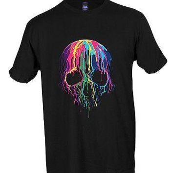 Melting Skull Neon Colorful Wax Sugar Skull Rave Party T-shirt Adult S-3XL