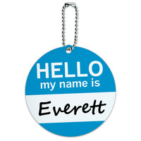 Everett Hello My Name Is Round ID Card Luggage Tag