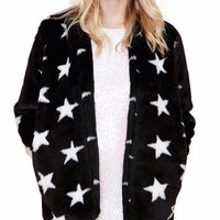 Star Print Faux Fur Coat
