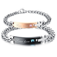 Fine Jewelry AAA Zircon Couple Titanium Steel Bracelet = 1930242180