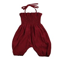 Wine Red Newborn Toddler Kids Girl Romper 2017 Summer Sleeveless Strap Jumpsuit Elastic Corset Children Clothes Sunsuit