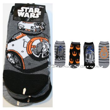 Licensed cool Star Wars Ladies No Show Ankle Socks MIX MATCH BB-8 & R2-D2 Rebel Insignia NWT