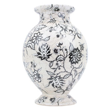 Beautiful Black and White Hand Painted Floral Pattern Crackle Porcelain Vase 15""