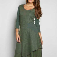 Inizio Linen Dress 3/4 sleeve - Flutter