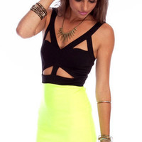 Snippet Combo Dress in Neon Green :: tobi