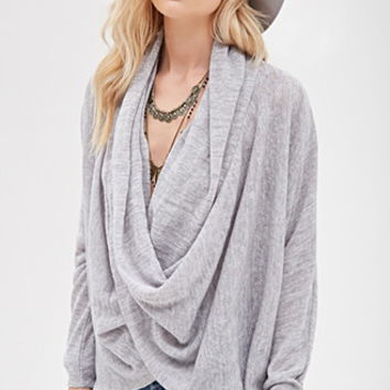 Draped Cross-Front Marled Sweater