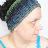 Crochet Headband Ear Warmer in Grey, Blue and Green Variegated Stripes, ready to ship.