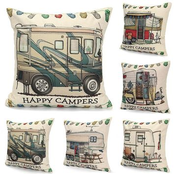 Happy Camper Decorative Throw Couch Sofa Cute Pillows Cover - Happy Campers Case
