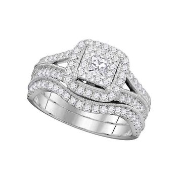 14kt White Gold Womens Princess Diamond Square Halo Split-shank Bridal Wedding Engagement Ring Band Set 1.00 Cttw