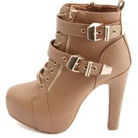 Lace-Up Belted Platform Booties by Charlotte Russe - Tan