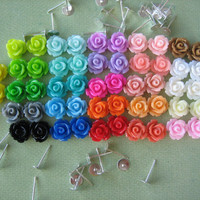 104 Pieces - Mini Rose Flower Cabochon & Earring Post DIY Kit - 10mm - Mixed Sampler Pack - Cabochons by ZARDENIA