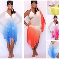 OMBRE CONVERTIBLE BEACH COVER UP MULTI WAY SEXY FLIRTY MIAMI SHORELINE BOUTIQUE