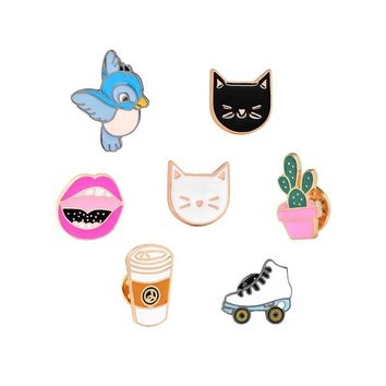 Trendy Potted Plant White Black Cat Red Lip Bird Skating Shoes Coffee Brooch for Kids Girls Boys Pins Denim Jacket Clothing Pin Badge AT_94_13