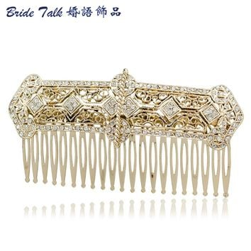 Vintage Style Rhinestone Crystals Palace Hair Comb Tiara Side Combs Women Party Wedding Bridal Hairpins Accessories XBY086