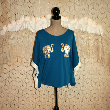 Ethnic Top Bohemian Clothing Batwing Hippie Top India Elephant Top Blue Poncho Top Oversized Tunic Unique Top Fringe Small Womens Clothing