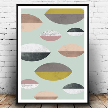 Mid century print, geoemtric art, Wall print, watercolor abstarct, muted colors, scandinavian print, home decor, modern poster, pattern