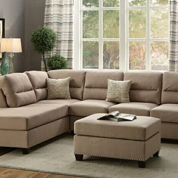 Poundex F7614 3 pc collette collection sand polyfiber linen like fabric upholstered sectional sofa with nail head trim accents