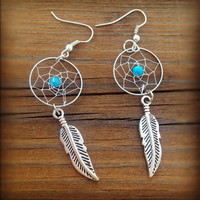 Turquoise Dream Catcher Earrings from Country Wind