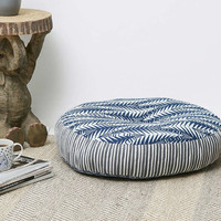 Mixed Pattern Navy Floor Cushion - Urban Outfitters