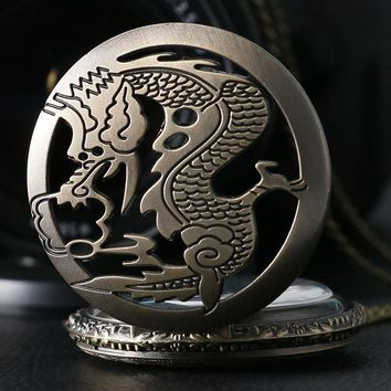 2017 New Arrival Bronze Quarzt Watch Cool Chinese Dragon Fashion Fob Pocket Watches with Chain Women's Men's Necklace Best Gift