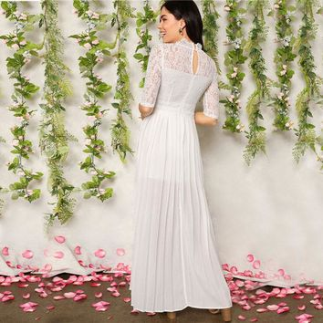 White Mock-Neck Lace Bodice Split Side Pleated Solid Dress Women Fit and Flare Empire A Line Party Dresses