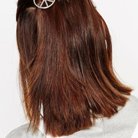 Silver Peace Sign Hair Clip