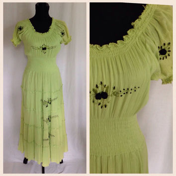 Vintage Boho Peasant Dress-Lime Green Gauze-Black Floral Embroidery-Summer Dress-Long Dress-Hippie Dress-Cotton-Bohemian-Festival-Gypsy-Maxi