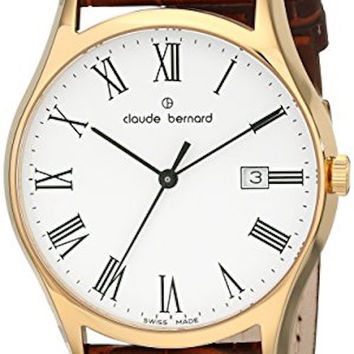 Claude Bernard 53003 37J BR Men's Swiss Made Watch Classic White Dial With Gold PVD Case