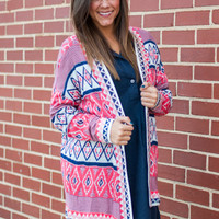 Coming Home Cardigan, Navy/Pink