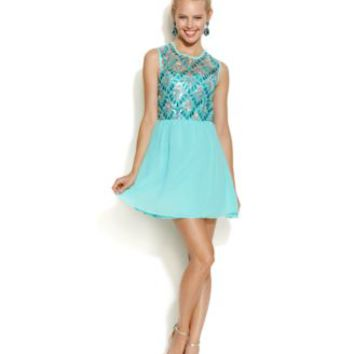 As U Wish Juniors' Beaded Illusion Dress | macys.com