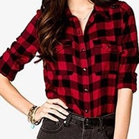 Red Black Buffalo Plaid Tartan Button Flannel Two Pocket Shirt Blouse Top