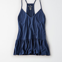 AEO Soft & Sexy Sueded Ruffle Hem Tank, Navy