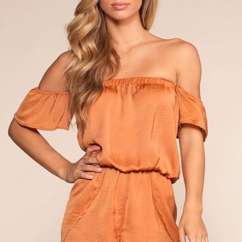 Kiss And Tell Off The Shoulder Romper