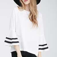 Striped Trumpet Sleeve Top