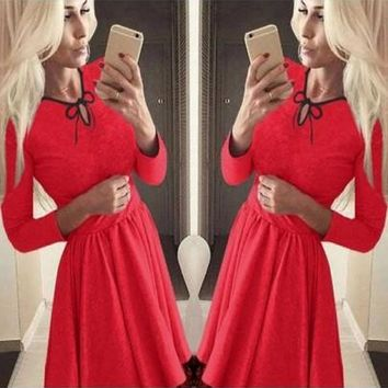 New Women Red Patchwork Drawstring Lace Bow Pleated Mini Dress