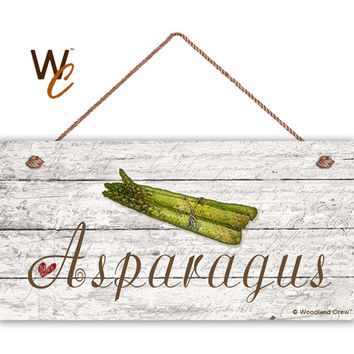 "Asparagus Sign, Garden Sign, Rustic Decor, Distressed Wood, Weatherproof, 5"" x 10"" Sign, Vegetable Sign, Gift For Gardener, Made To Order"