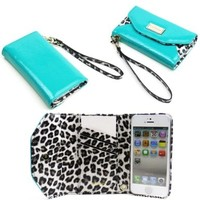 JAVOedge Leopard Clutch Wallet Case with Wristlet for the Apple iPhone 5s, iPhone 5 (Turquoise):Amazon:Cell Phones & Accessories