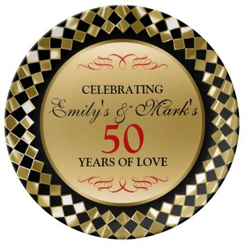 Gold Rhomboid And Red Swirls- 50th Anniversary Dinner Plate