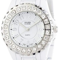 """Golden Classic Women's 2284_white """"Time's Up"""" Rhinestone Accented White Metal Watch"""